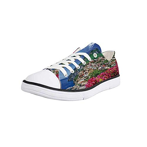 - Canvas Sneaker Low Top Shoes,Italy,Scenic View of Positano Amalfi Naples Blooming Flowers Coastal Village Image Women 9/Man 6.5