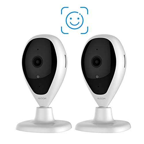 Wireless IP Camera, HUGOAI WiFi 1080P HD Home Security Surveillance Camera with Face Detection, Motion Detection, Night Vision, Two Way Audio for Baby Pet Monitor - Cloud Service Available (2 Packs)
