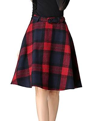 Womens Vintage Plaid Wool High Waist A-lineKnee Length Sakter Skirt with Pockets