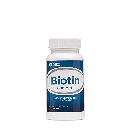 GNC Biotin 600mcg, 120 Caplets, Supports Healthy Hair, Skin and Nails