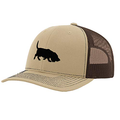 Richardson Trucker Hat Basset Hound Silhouette Embroidery Dog Name Polyester Baseball Mesh Cap Snaps - Khaki/Coffee, Design Only