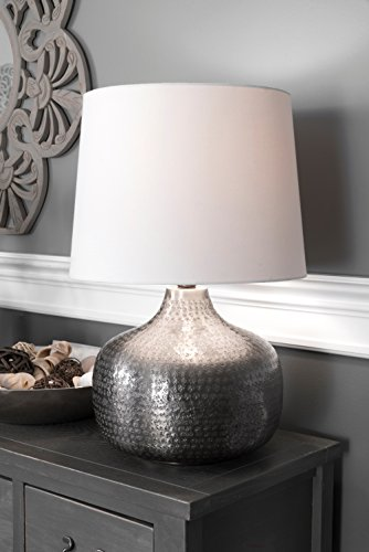 Watch Hill 21-inch Faith Hammered Aluminum Cotton Shade Table Lamp by Watch Hill Lighting
