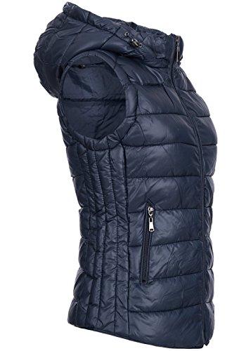 Honey 5016-1114 Damen Steppweste, abnehmbare Kapuze, seitliche Zipper Taschen, blau, Gr:L