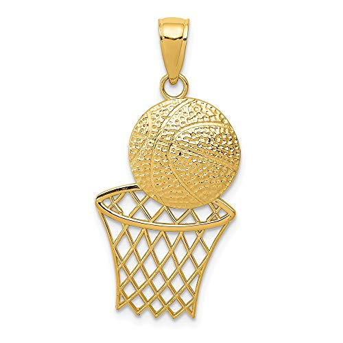 (14k Yellow Gold Basketball Net Pendant Charm Necklace Sport Man Fine Jewelry Gift For Dad Mens For Him )