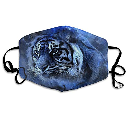 (YUIOP Star Tiger Blue Printed Mask Neutral Mask for Men and Women Polyester Dust-Proof Breathable Mask)