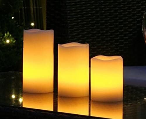 THEA Home Battery- Operated Flameless LED Remote Candle,LED Flameless Candle Lights,LED Artificial Pillar Candles Lights with Remote Control,Candle Size 3×4,3×5,3×6 inch Pack of 3 White