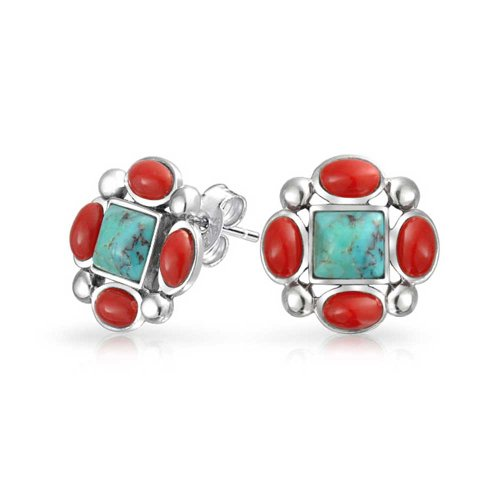 Bling Jewelry .925 Silver Synthetic Turquoise Coral Studs Bezel Coral Earrings