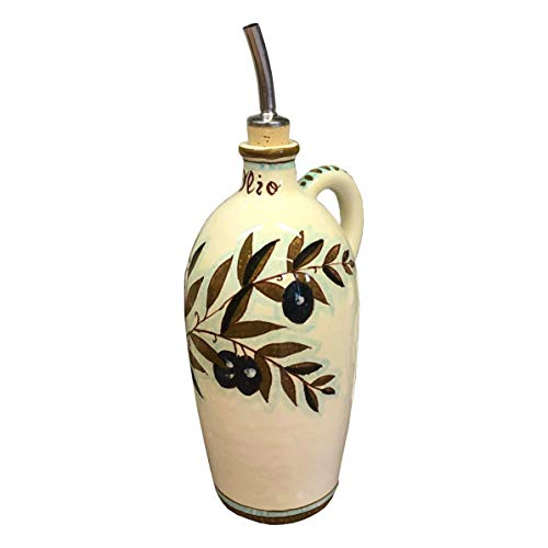 (CERAMICHE D'ARTE PARRINI - Italian Ceramic Art Pottery Oil Cruet Bottle Hand Painted Decorated Olives Made in ITALY Tuscan)