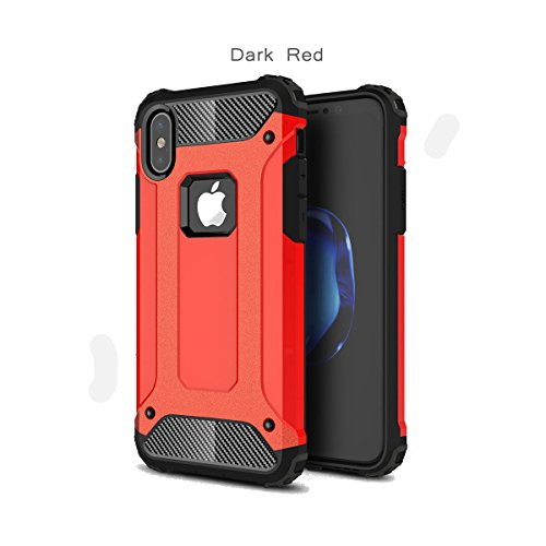 Price comparison product image iPhone X Case,iPhone 10 Case,DAMONDY [Phantom Armor] 360 Degree Power Ful Slim Rugged Design Dual Layer Heavy Duty Hybrid Protection for Apple iPhone X-red