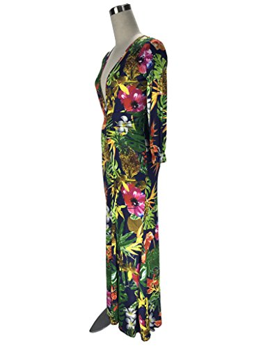 Color Print Gowns V Evening Picture Spandex CRYSTALJIANG Crystal Floral Long Neck Formal Sleeves wIxA67q