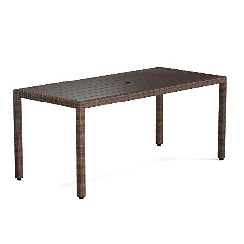 Rectangle Perfect Indoor Outdoor Dining Table in Brown with Weather Resistant Composite Wood Plank Tabletop and All Weather hand Crafted Woven Resin Rattan Construction Wood Plank Tabletop