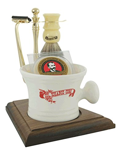 Col. Conk Products Model 239 5-Piece Apothecary Mug Shave Set with Gold Tone and Wood Stand, Deluxe Boar Brush, Super Bar and Gold Tone Razor
