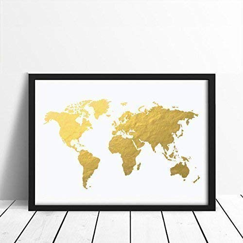 Gold World Map Poster.Amazon Com World Map Poster Real Gold Foil Map Print Gold Foil
