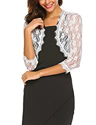 Se Miu Bolero Shrug Women S 3 4 Sleeve Lace Crochet Cardigan Top