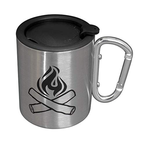 Camping Mug - Double Walled Stainless Steel Tea and Coffee Camping Cup with Handle and Lid, 10 Oz, Silver (Handle Cups Espresso No)
