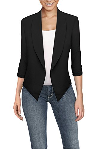 Womens Casual Work Office Open Front Blazer JK1133 Black Large (Knit Jersey Pant Slimming)
