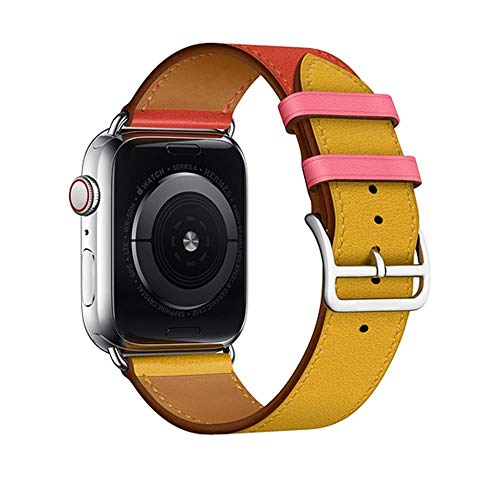 Ambre Rose - E-Top Parts Leather Single Tour Band Strap Replacement Smartwatch Wristband Bracelet Compatible with Apple Watch Series 4 Series 3 Series 2 Series 1 (Ambre/Rose, 42/44mm)