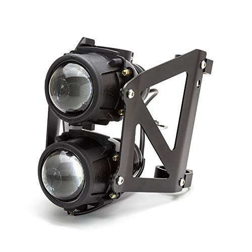 Max-Inc Black Dual Stacked Streetfighter Projector Motorcycle Headlight Set - Emarked & DOT Approved | Low, High Beam & Side/Parker Lights, 42/43mm Fork Brackets, 2X 55W Halogen Light ()
