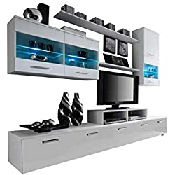 Paris Contemporary Design Wall Unit/Modern Entertainment Center/Unique Modern Design/with LED Lights/High Storage Capacity/Living Room Furniture/Tv Stand (White)