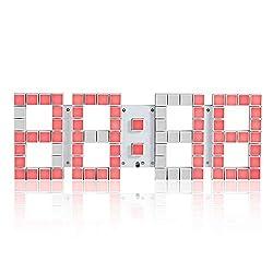 Chenteshangmao 3D Square Lattice Remote Control Personality Wall Clock Hollow Design Clock Living Room Calendar Digital LED Electronic Alarm Clock, Size: 44 2 15.3 cm Ornaments