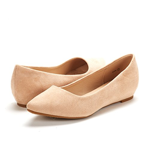 DREAM PAIRS Women's Jilian Nude Suede Low Wedge Flats Shoes - 10 M US by DREAM PAIRS (Image #1)