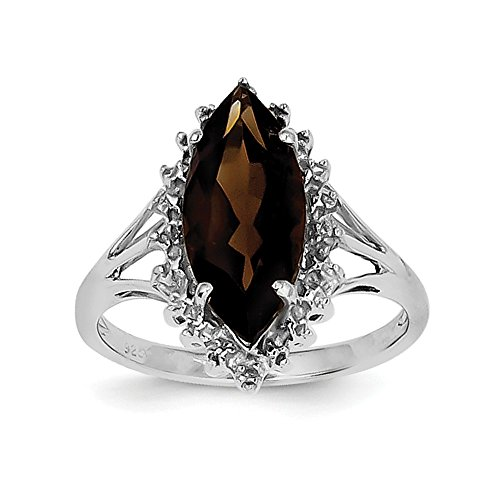 3.11ct Marquise Cut Smoky Quartz and Diamond Accent Sterling Silver Ring, Size 6 ()
