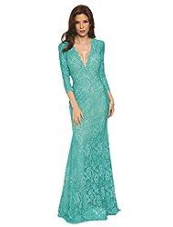 Long Elegantly Beaded Deep V-Neck Dress