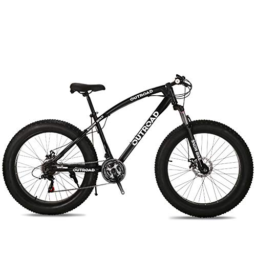Max4out Fat Tire Mountain Bike 21 Speed 26 inch Shining SYS Double Disc Brake Suspension Fork Rear Suspension Anti-Slip Bikes Black