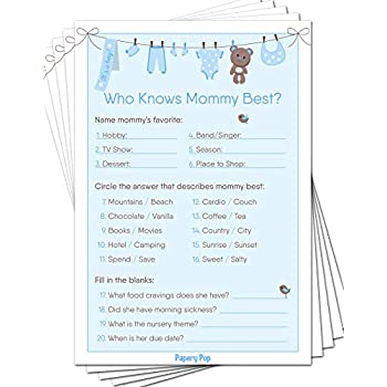 Amazon com: Fun Baby Facts Game Cards (Pack of 50) - Baby Shower