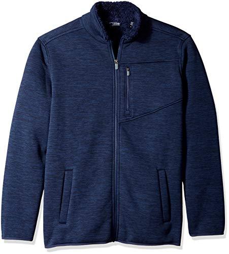 (IZOD Men's Advantage Performance Full Zip Sherpa Fleece Jacket, Peacoat, Large)