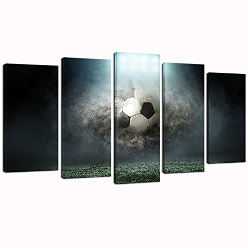 Sea Charm - Large 5 Piece Canvas Wall Art Soccer in Dark Playground Picture Prints Stretched and Framed Ready to Hang for Boys Bedroom,Sports Paintings Modern Decoation by Sea Charm