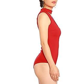 - 41VMUS7qByL - May&Maya Women's Mock Neck Plunging V-Neckline Bodysuit