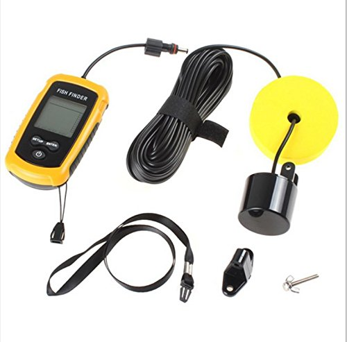Heartte@ Portable Wired Fish Finder, 100 Meter (328 FT) Range, with LCD Display, Alarm, Round Sonar Sensor with 25 FT Cable, 45 Degree Beam Angle and Removable Float (Fishfd-01) Fish Finders And Other Electronics Heartte