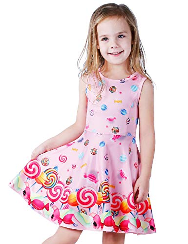 LaBeca Baby Girls Lollipop Printed Birthday Party Play Sleeveless Pink Dress Lollipop XS -