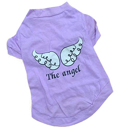 Dress Dog Teacup Clothes (ManxiVoo Puppy Angel's Wing Printed Vest, Small Dog Teacup Chihuahua Outfit Cotton Shirt Pet Clothes (XS, Purple))