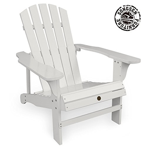 Adirondack Lounge Chair Set (Songsen Fashion Outdoor Wood Adirondack Chairs/Muskoka Chair Patio Deck Garden Furniture (Adult,White))