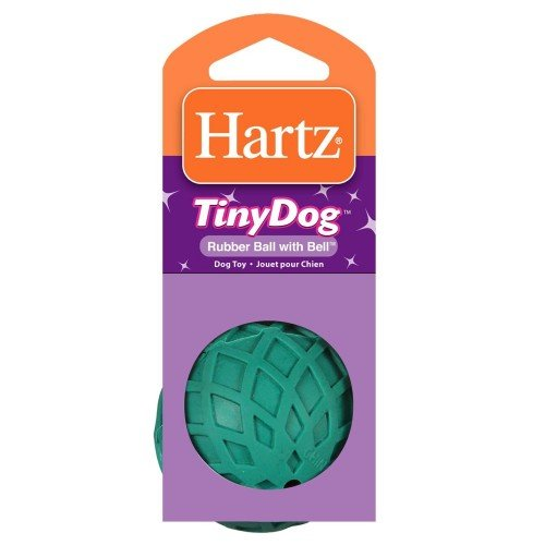 Hartz Rubber Ball with Bell for Tiny Dogs 1 Count (Assorted Colors) (Pack of 4)