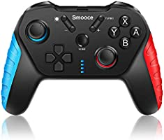 Smooce Nintendo Switch Controller,Wireless Switch Pro Controller met 6-assige Gyro verstelbare Turbo Dual Vibration Motor...