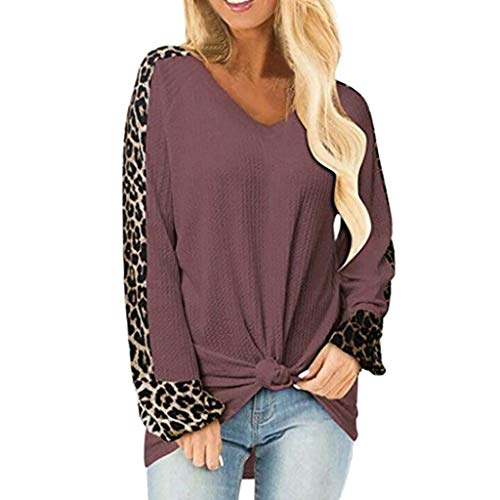 Oldlover-Women Casual Tops for Women Fall Tunic Blouse Tie Knot Henley Tops Loose Plain Shirts Leopard Print Tops Red