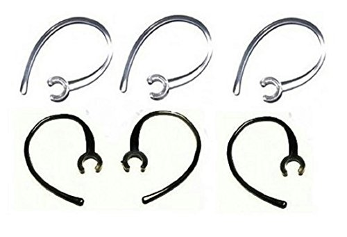 Set of 6 Replacement Bluetooth Ear Loop Hook Clip Clear/Black (6mm) Comes with Free How to Live Stress Free Ebook