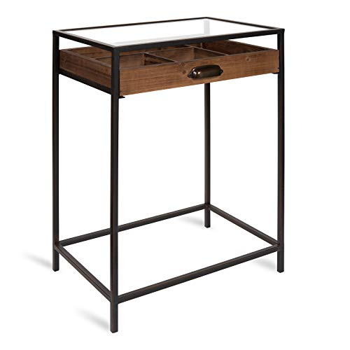 Kate and Laurel McConnell Farmhouse Wood Side Accent Table with Glass Top and Display Drawer, Rustic Brown with Black Metal Frame ()