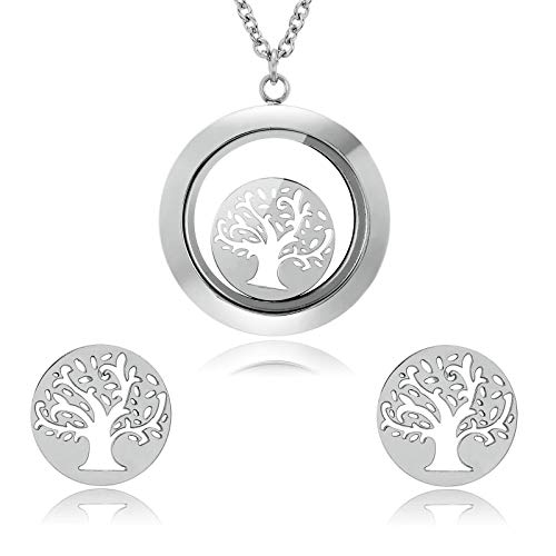 Price comparison product image ANAZOZ Stainless Steel Necklace Earrings Set for Women Hollow Tree of Life Silver,#A1408