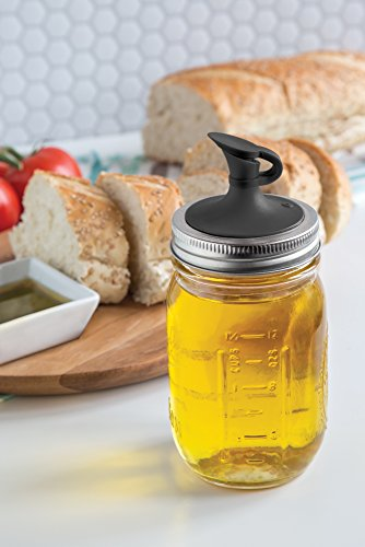 Jarware 82649 Oil Cruet For Regular Mouth Mason Jars Black Pourer