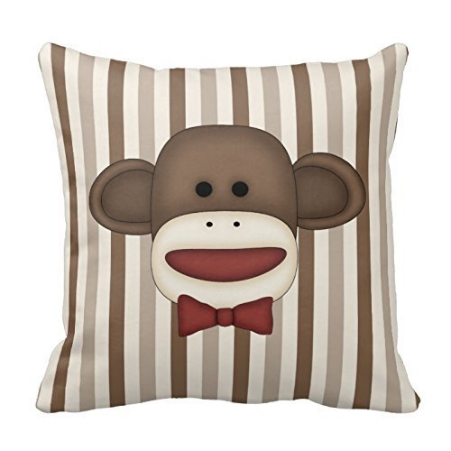 Adorable Sock Monkey Home Decor Items Throw Pillow Cover Polyester Pillowcase Cushion Cover 18 x 18 Inches