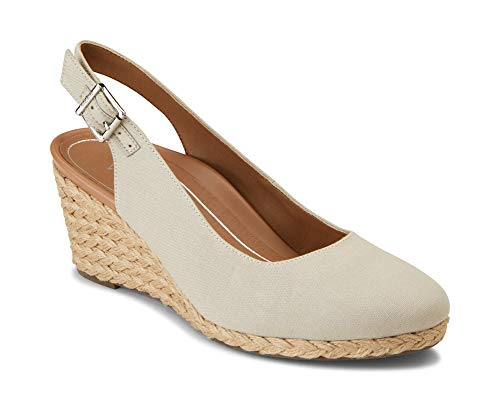 Vionic Women's Aruba Coralina Slingback Wedge - Espadrille Wedges with Concealed Orthotic Arch Support Oat 11 W US