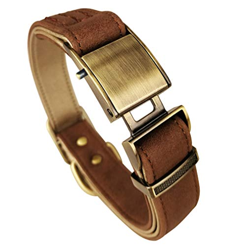 chede Basic Classic Luxury Padded Leather Dog Collar,The Seatbelt Buckle,for Large Medium Pets