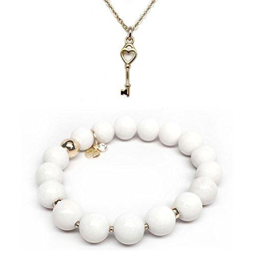 TFS Jewelry Set 10mm White Agate Sophia 7