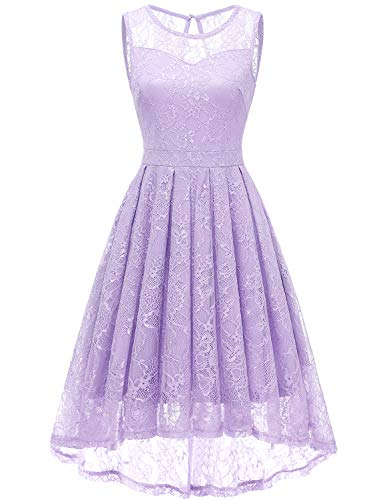 Gardenwed Women's Vintage Lace High Low Bridesmaid Dress Sleeveless Cocktail Party Swing Dress Lavender-L