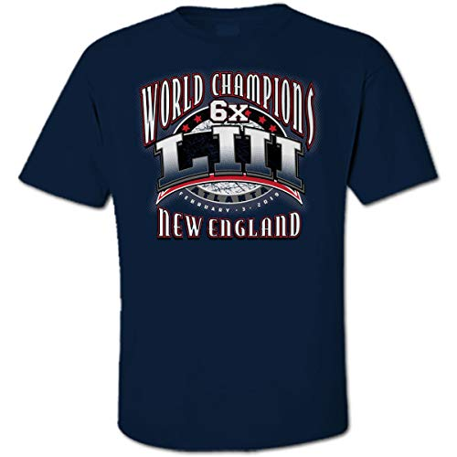 New England 6X Time World Champions LIII Football Champs Navy Blue T-Shirt -