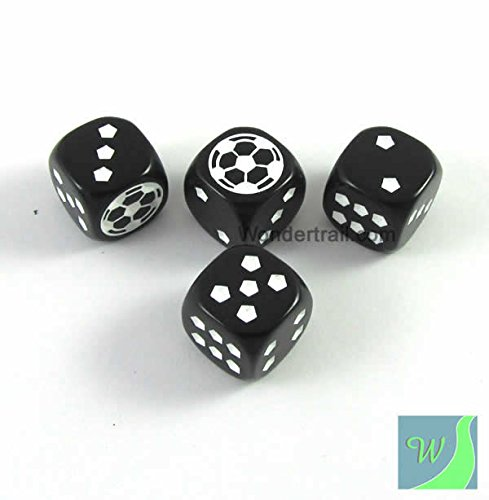 Soccer Dice Game (WKP13185E4 Soccer Dice D6 Black Opaque with White Pips 18mm (23/32in) Set of 4 Dice Koplow)